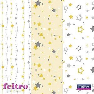 Feltro Estampado Composê Estrela – Amarelo