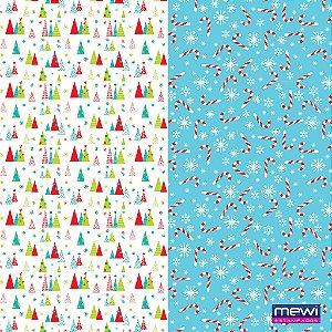 Feltro Estampado Composê  Natal Árvore e Bengala