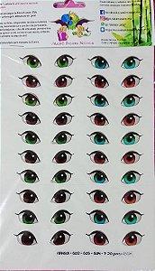 Cartela com 20 Pares de olhos resinados 1,5cm ABNH601