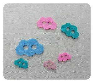 Botões de Nuvem Recortes em Feltro 1cm - 50un