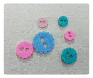 Botões de Flor Recortes em Feltro 1cm - 50un
