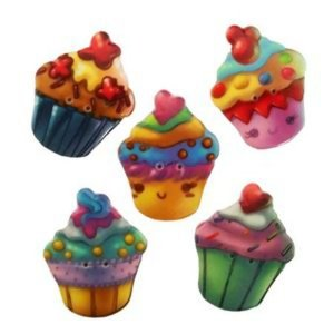 Kit Botões Cupcake  We Care About -  5 unidades