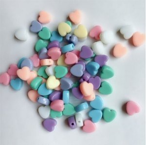 Miçanga com Furo Coração Candy - 14un