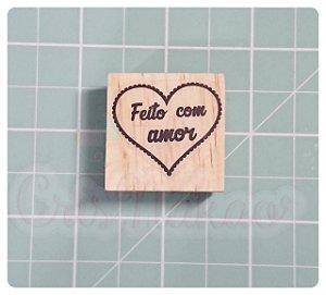 Carimbo Artesanal - Feito com Amor - Coração (1) 3x3cm