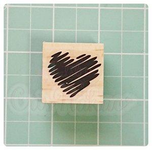 Carimbo Artesanal - Coração (2) 3x3cm