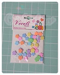 Botões Artesanais Flores 5 pontas Algodão Doce