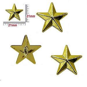 Botão infantil com pé - Estrela Natalina Dourada c/10unidades