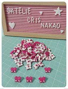 Botão Borboleta -  Pink c/ Branco 20mmx 15mm 10un