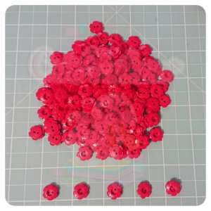 Botão Flor 12mm Vermelho - 20 unidades