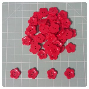 Botão Artesanato Estrela M Vermelho - 10 unidades