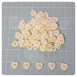Botão Artesanato Coração M Amarelo - 10 unidades