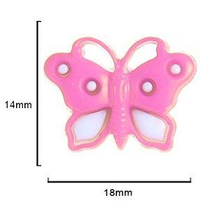 Botão Borboleta -  Rosa  c/ Branco 18mmx 14mm 10un