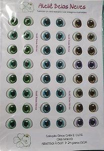 Olhos Resinados ABNT1501 P  24 pares 1,5cm
