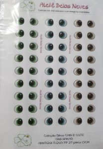 Olhos Resinados ABNT1201  PP 27 pares 1,3cm