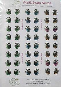 Olhos Resinados ABNC101 P 24 pares 1,5cm