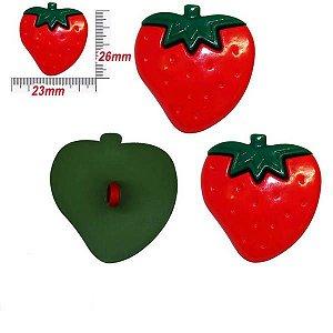 Botão com pé Morango Vermelho - 10un
