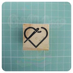Carimbo Artesanal - Coração Agulha 3x3cm