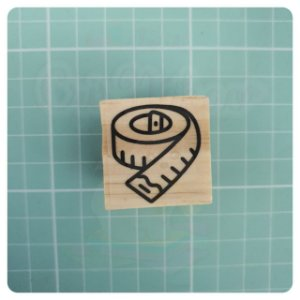 Carimbo Artesanal - Fita Métrica 3x3cm