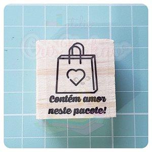 Carimbo Artesanal - Contem amor neste pacote! 3x3cm