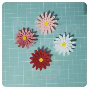 Recortes em Feltro - Flores Margarida mod.2 - 6un (24 peças)