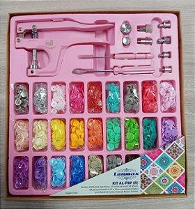 Kit Alicate De Pressão 3 Em 1 Rosa +botões Plástico+ Ilhós