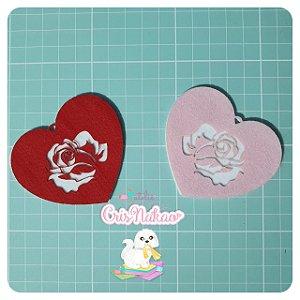 Recorte em feltro - Aplique chaveiro Rosas -un