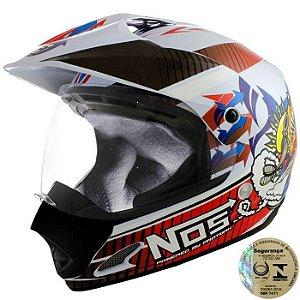 Capacete Para Motocross Top Helmet Vision 60 Th-1 Nos Pro Tork - CAP-284BC