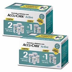 Kit Accu-Chek Active 3 Caixas com 50 Tiras Cada 2 Unidades