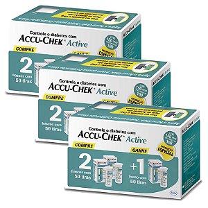 Kit Accu-Chek Active 3 Caixas com 50 Tiras Cada 3 Unidades