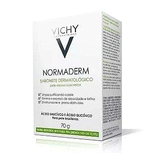 Normaderm Sabonete Em Barra Limpeza Facial 70g Vichy