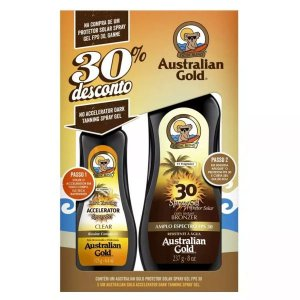 Kit Australian Gold Protetor Solar Bronzeador Fps 30 Spray 237ML + Acelerador 125g