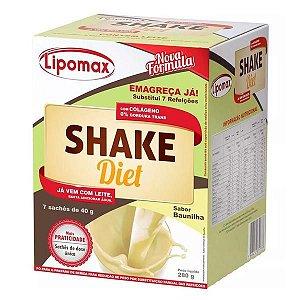 Lipomax Shake Diet Sabor Baunilha Com 7 Sachês De 40g Cada