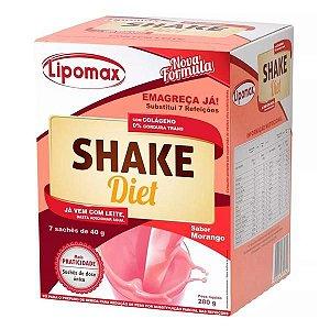 Lipomax Shake Diet Sabor Morango Com 7 Sachês 40g Cada