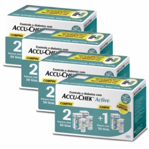Kit Accu-Chek Active 3 Caixas com 50 Tiras Cada 4 Unidades