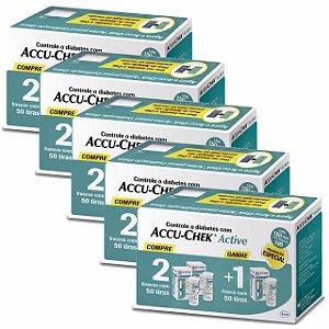 Kit Accu-Chek Active 3 Caixas com 50 Tiras Cada 5 Unidades