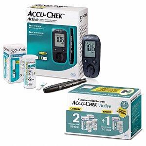 Kit Medidor de Glicose Aparelho Monitor de Glicemia Accu-Chek Active + 3 Caixas com 50 tiras cada