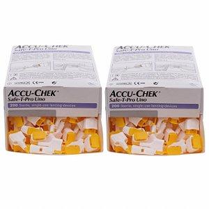 Accu-Chek Safe-T-Pro Uno 200 Lancetas 2 Unidades Validade 12/2021