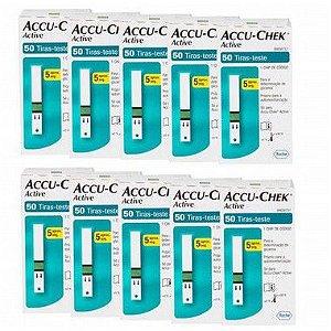 Super Kit Accu-Chek Active com 50 Tiras Reagentes 10 Unidades