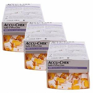Accu-Chek Safe-T-Pro Uno 200 Lancetas 3 Unidades Validade 12/2021