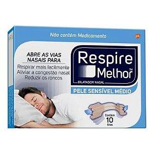 Dilatador Nasal Respire Melhor Pele Sensível / Médio com 10 Unidades