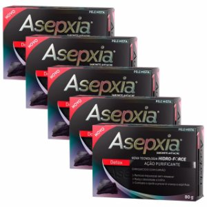 Kit Asepxia Sabonete Antiacne Detox Purificante 80g 5 Unidades