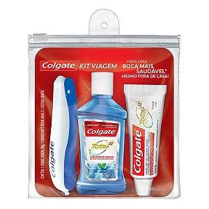Kit Viagem Colgate Com Escova Dental+ Enxaguante Bucal Total12+ Creme Dental Total12