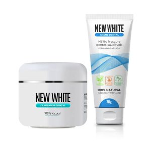 New White Clareador Dental 11g + Creme Dental New White 100% Natural 70g