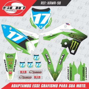 Adesivo Kawasaki Kxf 250 13/16 - Monster Energy White Edition
