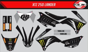 Adesivo Yamaha XTZ 125/250 - Monster Energy Black Edition + Capa de banco