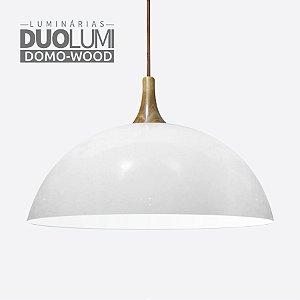 Pendente Domo-Wood Branco Brilhante DuoLumi Acabamento Em Madeira