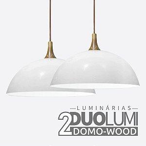 Kit 2 Pendentes Domo-Wood Branco Brilhante DuoLumi Acabamento Em Madeira
