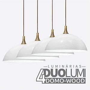 Kit 4 Pendentes Domo-Wood Branco Brilhante DuoLumi Acabamento Em Madeira