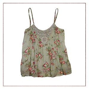 Blusa Importada Floral Cinza