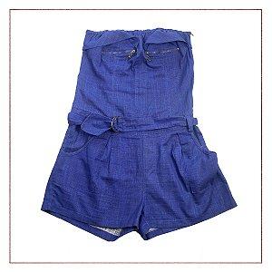 Macacão curto jeans Pupú